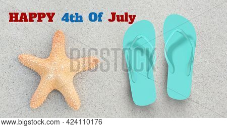 Composition of happy 4th of july text with starfish and flip flops on sand. united states of america celebration, holiday, patriotism and independence concept digitally generated image.