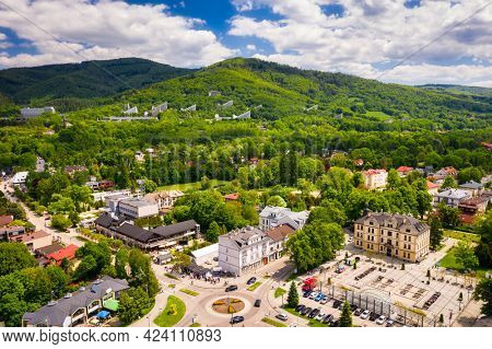 Aerial view of Ustron city on the hills of the Silesian Beskids. Poland