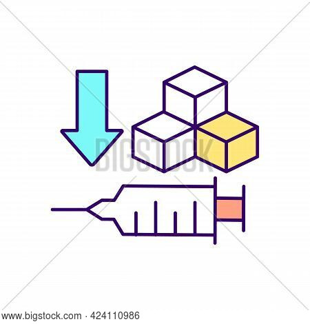 Medicaments Rgb Color Icon. Isolated Vector Illustration. Syringe With Antibiotics To Fight Diabetes