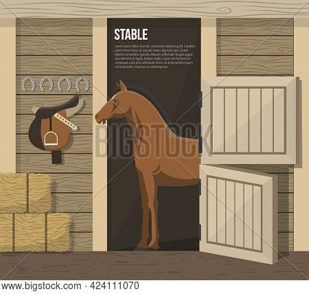 Horse Breeding Farm Stable Interior With Standing In Stall Animal And Hay Forage Supply Abstract Vec