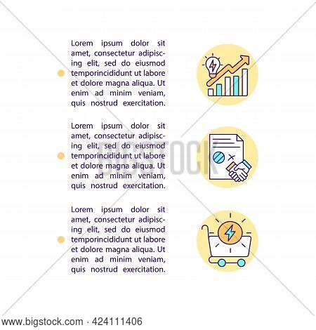 Commercial Demand For Clean Hydrogen Concept Line Icons With Text. Ppt Page Vector Template With Cop