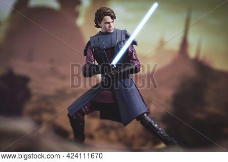 JUNE 17 2021:  Star Wars The Clone Wars Jedi General Anakin Skywalker with lightsaber - Hasbro action figures