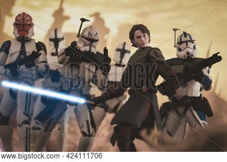 JUNE 17 2021: Star Wars The Clone Wars Jedi Anakin Skywalker, Captain Rex and clone troopers from the 501st - Hasbro action figures