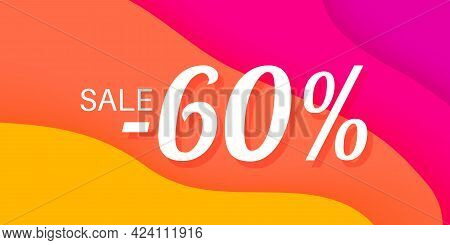 60 Percent Sale Lettering On Wavy Paper Colorful Background