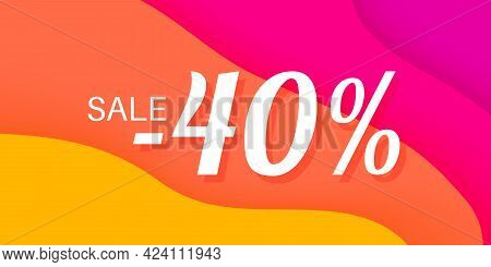 40 Percent Sale Lettering On Wavy Paper Colorful Background
