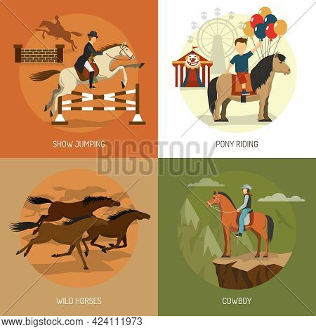Horse Breeds Concept 4 Flat Icons Square With Equestrian Show Jumping And Pony Riding Abstract Isola