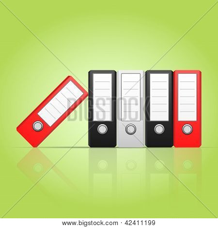 Row of color binders vector, red, gray, black.