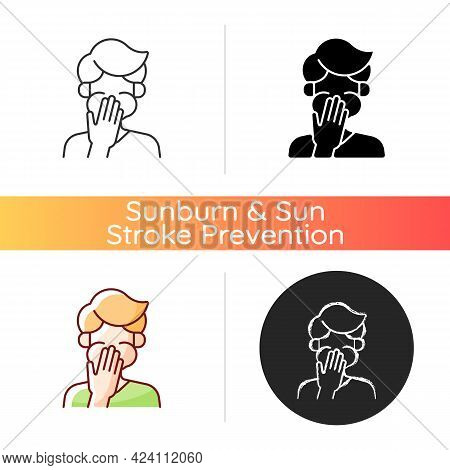 Nausea Icon. Sick Person Covering Mouth. Ill Man With Stomachache Ready To Throw Up. Food Poisoning.