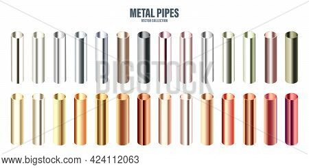 Steel And Copper Pipes Collection. Construction Material. Polished Metal Texture. Silver Gradient. V