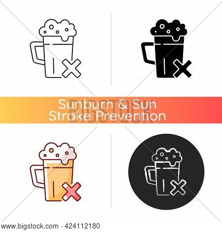 Avoid Alcohol Icon. Diet Restriction For Alcoholic Beverages. Stop Drinking, Alcoholism Prevention.
