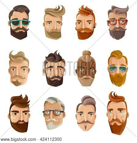 Hipster Barbershop Cartoon European People With Beards Moustaches And Various Stylish Haircuts On Wh