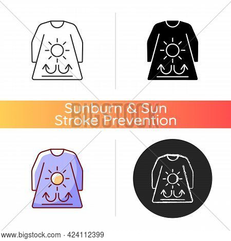 Long Sleeves And Loose Clothing Icon. Female Outfit For Summer Weather. Heatstroke Prevention. Fabri