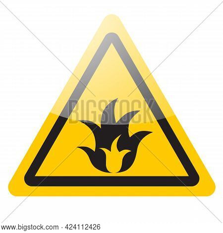 Fire Warning Sign. Danger Symbol Icon. Vector Illustration