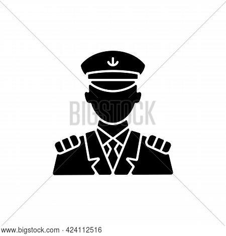 Male Captain Black Glyph Icon. Person Controling All Cruise Crew. Providing Best Service For Custome