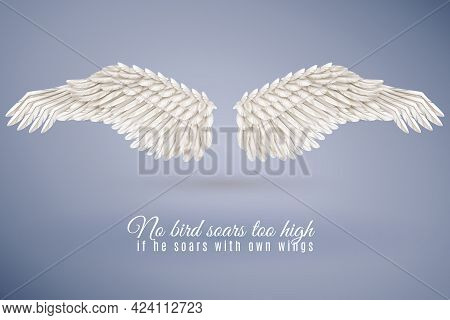 Pair Of Big Realistic White Bird Wings Set In Middle Isolated On Blue Background With Quotation Vect