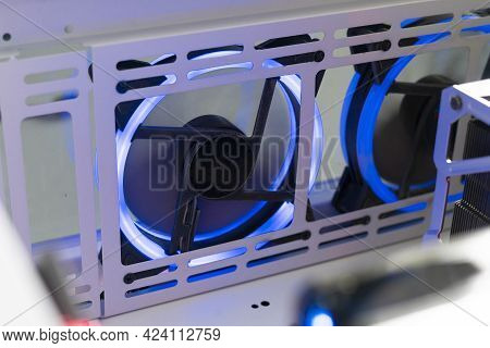 A Close Up Computer Air Cooler Vent Blade With Led Color Light