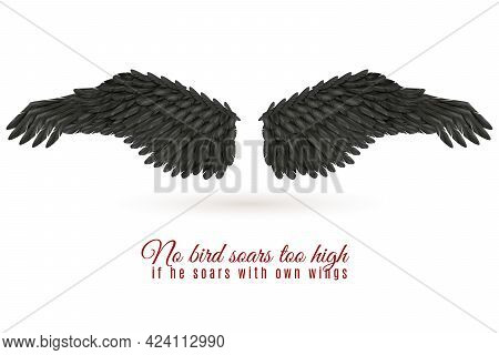 Pair Of Big Dark Bird Wings On White Background With Shadow And Quotation Realistic Vector Illustrat