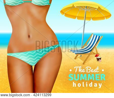Slim Sexy Dark Skin Woman Wearing Swimsuit On Sand Beach With Umbrella And Lounge Flat Vector Illust