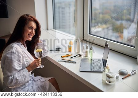 Charming Woman Spending Her Morning With Pleasure