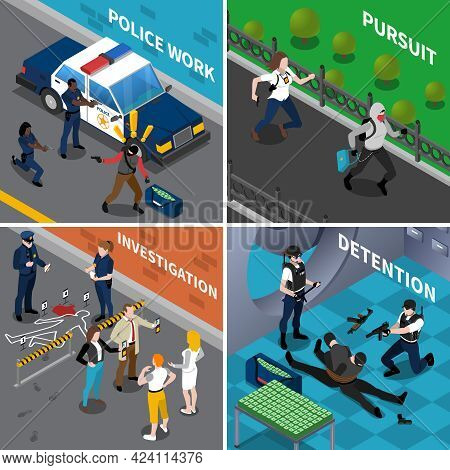 Color Isometric Composition 2x2 Depicting Police Work Pursuit Investigation Detention Vector Illustr