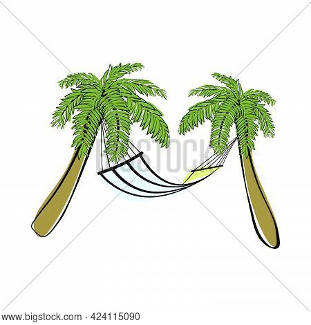 Doodle Sketch Palm Trees With Hammock And Color Fill. Simple Design Suitable For Making Greeting Car