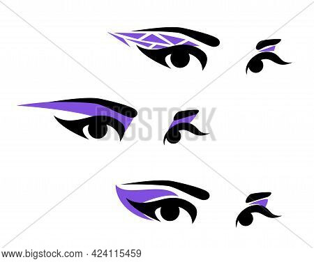 Beautiful Woman Eyes With Long Eyelashes, Bright Violet Shadows And Elegant Brows - Simple Vector De