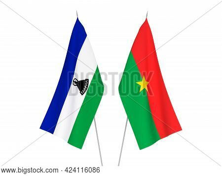 National Fabric Flags Of Lesotho And Burkina Faso Isolated On White Background. 3d Rendering Illustr