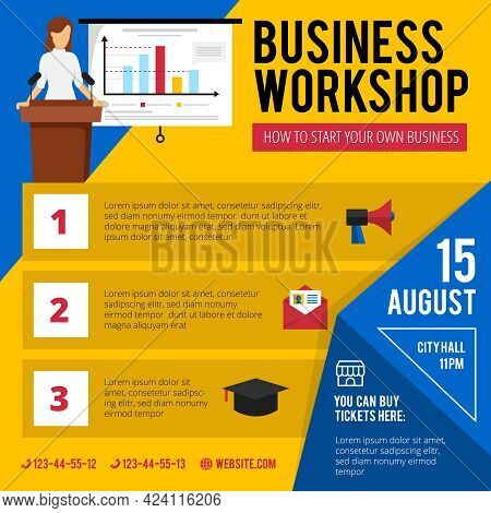 Business Beginners Training Workshop Announcement With Concise Program Date And Time Flat Colorful P