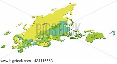 Isometric Political Map Of Eurasia And Australia. Colorful Land With Country Name Labels On White Ba