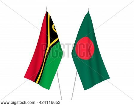 National Fabric Flags Of Bangladesh And Republic Of Vanuatu Isolated On White Background. 3d Renderi