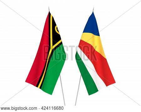 National Fabric Flags Of Seychelles And Republic Of Vanuatu Isolated On White Background. 3d Renderi