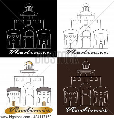 Line Illustration Of The City Of Vladimir, A Set Of Cards Depicting The Building Of Vladimir.