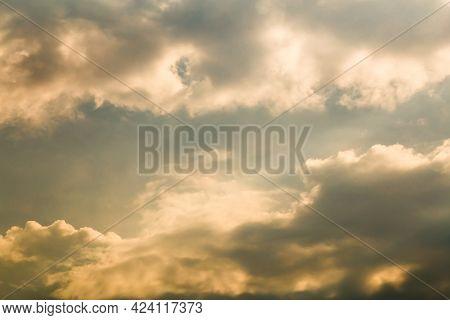 Beautiful Evening Sky With Golden Clouds. Sky Panorama For Screensavers, Postcards, Calendar, Presen