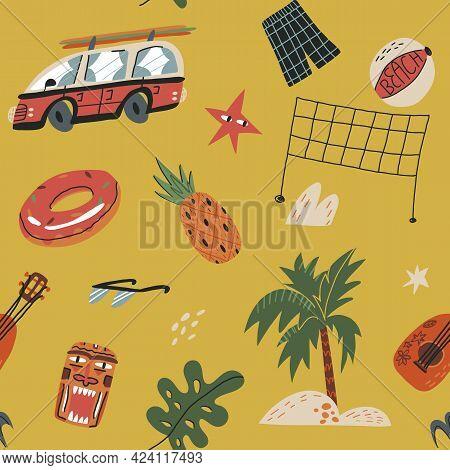 Hawaiian Vacation Seamless Pattern. Palm Tree, Retro Bus With Surfboards On Top, Tiki Mask, Ukulele,