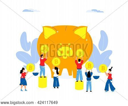 Accumulating Money. Saving Money Concept. Tiny People Put Gold Bitcoins In A Large Piggy Bank
