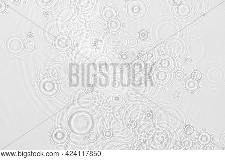 Water Background. White Water Texture, Blue Mint Water Surface With Rings And Ripple. Spa Concept Ba