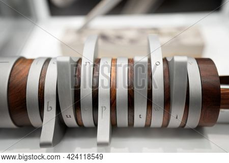 Modern Closeup Of Metal And Wooden Detail For Decoration Design. Close Up