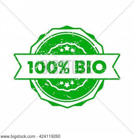 100 Percent Bio Stamp. Vector. 100 Percent Bio Badge Icon. Certified Badge Logo. Stamp Template. Lab