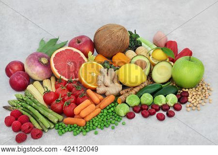 Health food for a balanced diet, fruit, vegetables and legumes high in  protein, antioxidants, anthocyanins, minerals, vitamins, carotenoids, dietary fibre and  smart carbs. Ethical eating concept.