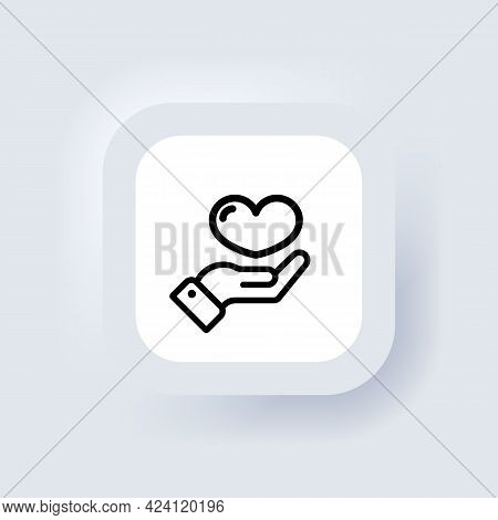 Charity And Donation Symbol. Vector, Icon. Hand Holding Heart. Heart Health Care Symbol Line Icon. H