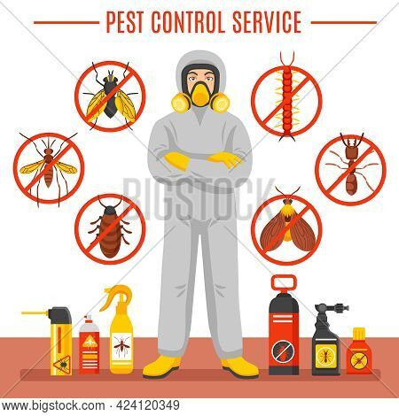 Pest Control Service Vector Illustration With Exterminator Of Insects In Chemical Protective Suit Te