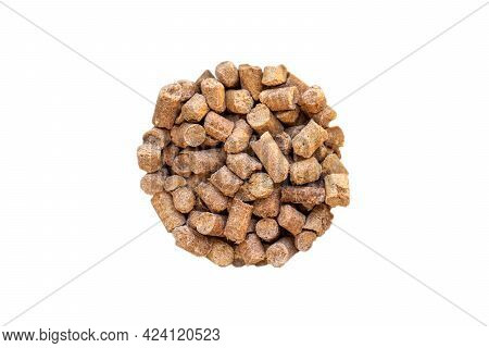 Wheat Bran Pellet Isolate In The Shape Of A Circle. Stern. View From Above