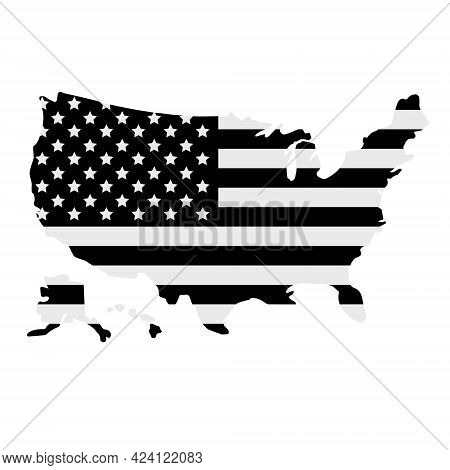 Vector Black Flat American Usa Flag Country Silhouette Isolated On White Background