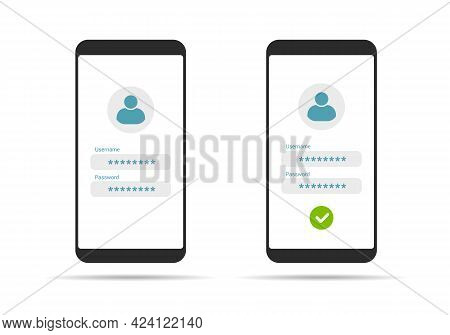 Flat Design Illustration Of Touch Screen Smartphone. Login Form For Entering Username And Password -
