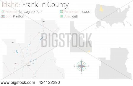 Large And Detailed Map Of Franklin County In Idaho, Usa.