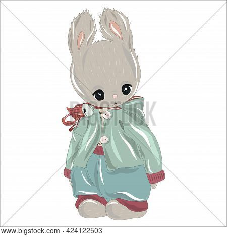 A Vintage Teddy Bunny Or Bunny In An Old Fashioned Yet Stylish Pastel Colored Outfit. Toy Hare On A