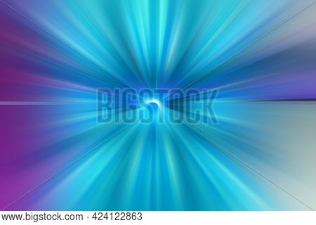 Abstract Surface Of Radial Blur Zoom  In Blue And Lilac Tones. Bright Colorful Background With Radia