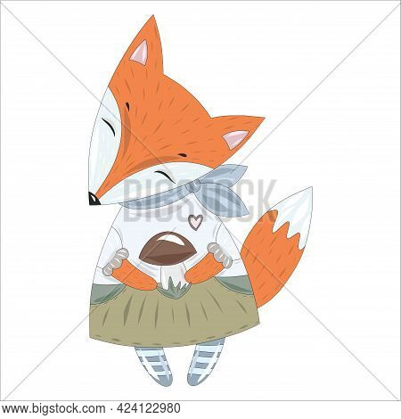 Stylish Red Fox In An Elegant Dress And A Tied Scarf Around His Neck With A Mushroom In Its Paws. Ve