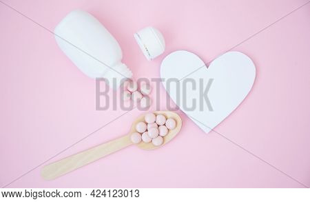 A Bottle Of Pills, Tablets, Painkillers And Prescription Drugs In A Medical Background