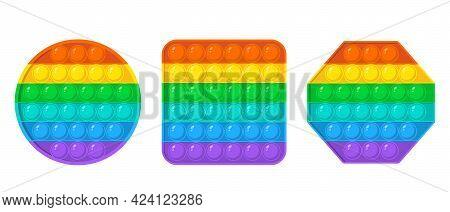 Set Of Colorful Fidget Antistress Sensory Toys For Kids. Round, Square, Octagon Shape. Fidget Sensor